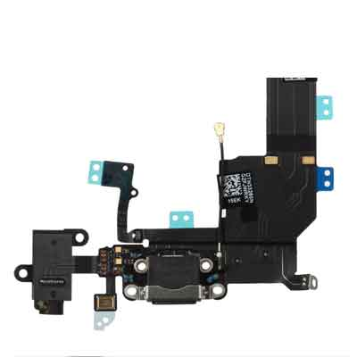 iPhone 5S Dock Connector Charging Port + Headphone Jack Flex Cable zwart
