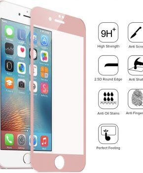 Full cover glazen screenprotector voor de Apple iPhone 7 – 9H - roze - pink