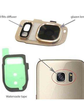 Samsung Galaxy S7/ S7 Edge achter camera lens cover, glas lens en LED diffuser - Goud - compleet