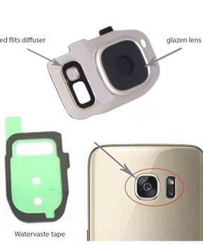 Samsung Galaxy S7/ S7 Edge achter camera lens cover, glas lens en LED diffuser - Zilver - compleet