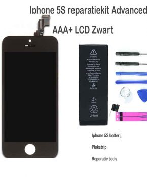Iphone 5S LCD reparatie en upgrade kit voor de advanced - Zwart