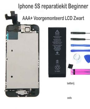 Iphone 5S LCD reparatie en upgrade kit - voor de beginner - Zwart