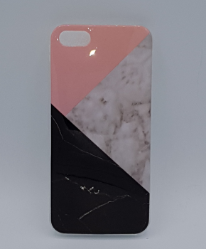 iPhone 5, 5s, SE hoesje - driehoek marmer - pink