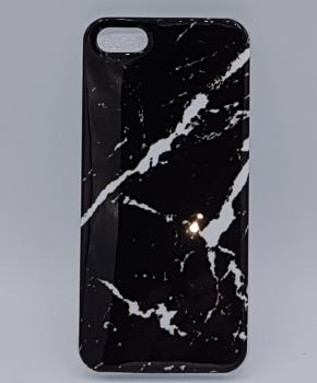 iPhone 5, 5s, SE hoesje  - zwarte marmer