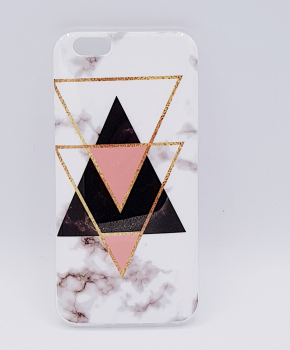 Voor IPhone 6 / 6S hoesje - marble triangels black & pink