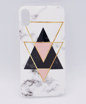 Voor IPhone XR hoesje - marble triangels black & pink