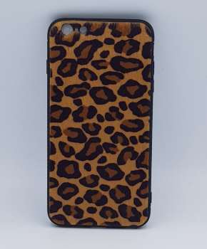iPhone 6 Plus hoesje - panter look - pluizig - geel