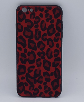 iPhone 6 Plus hoesje - panter look - pluizig -rood