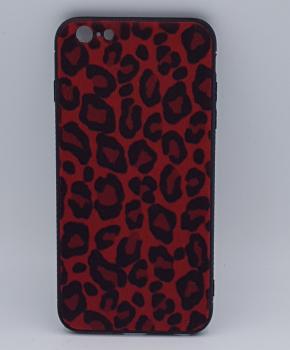 iPhone 7 hoesje  - panter look - pluizig -rood
