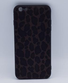 iPhone 6 Plus hoesje  - panter look - pluizig - donker bruin