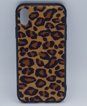 iPhone XR hoesje - panter look - pluizig - geel