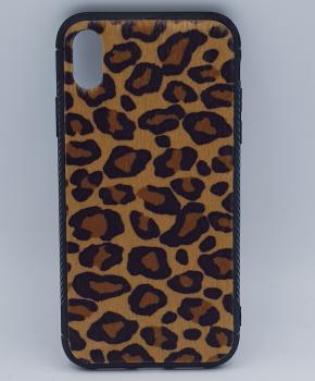iPhone XS MAX hoesje - panter look - pluizig - geel