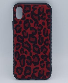iPhone XS MAX hoesje - panter look - pluizig -rood