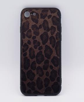 iPhone 7 hoesje - panter look - pluizig - donker bruin
