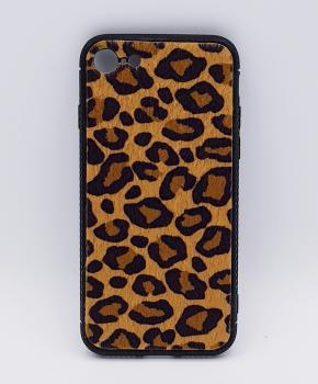 iPhone 7 hoesje - panter look - pluizig - geel/bruin