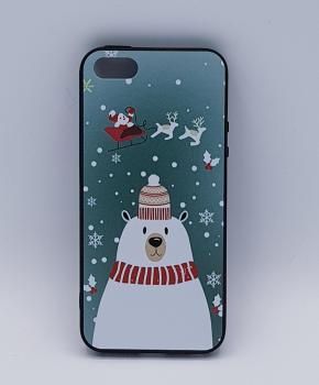 iPhone 5, 5s, SE hoesje  - kerst - ijsbeer met muts