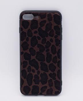 iPhone 7 Plus hoesje  - panter look - pluizig - donker bruin