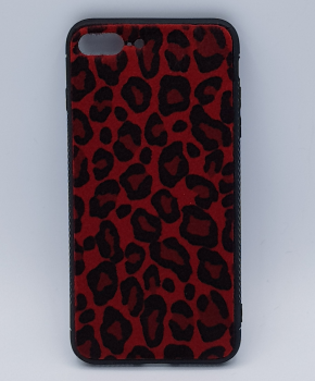 iPhone 7 Plus hoesje - panter look - pluizig - rood