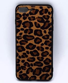 iPhone 7 Plus hoesje  - panter look - pluizig - geel/bruin