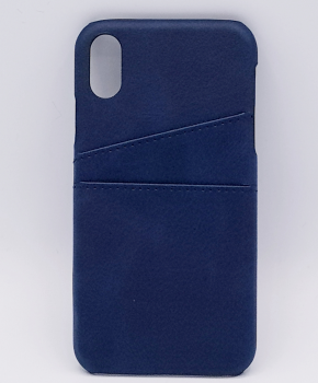 Voor IPhone X - kunstlederen back cover / wallet - blauw