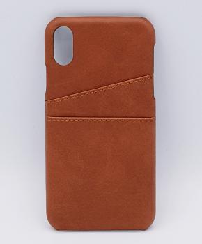 Voor IPhone Xs Max - kunstlederen back cover / wallet bruin