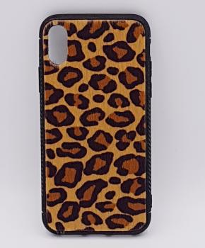iPhone X hoesje - panter look - pluizig - geel/bruin