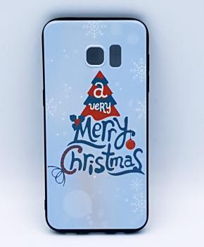 Voor Samsung S7 Edge hoesje - kerst - a very Merry Christmas - wit
