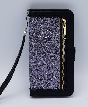 Voor Samsung S8 Black Sparkle Bookcase - zwart