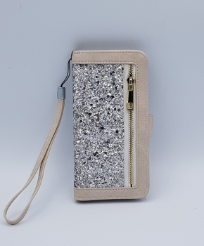 Voor Samsung S8 Creme Sparkle Bookcase  - Creme