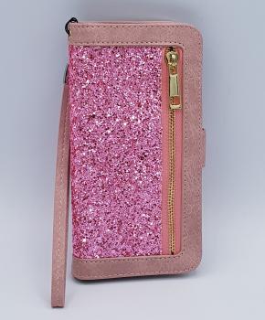 Voor Samsung S8 Pink Sparkle Bookcase - zacht roze