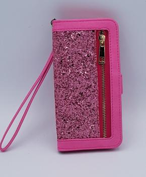 Voor Samsung S8 Pink Sparkle Bookcase  - Roze