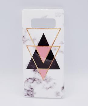 Voor Samsung Note 8  hoesje - marble triangels black & pink