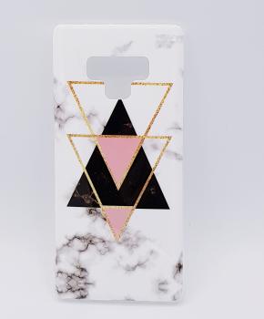 Voor Samsung Note 9 hoesje - marble triangels black & pink