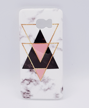 Samsung S7 hoesje - marble triangels black & pink