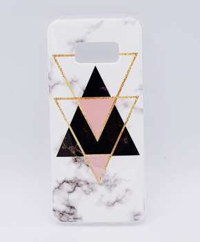 Samsung S8 hoesje - marble triangels black & pink
