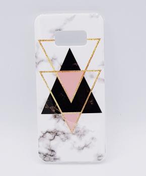 Samsung S8 Plus  hoesje - marble triangels black & pink