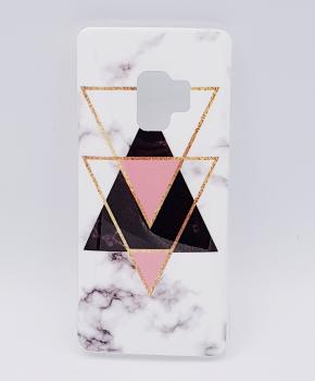 Samsung S9 Plus hoesje - marble triangels black & pink