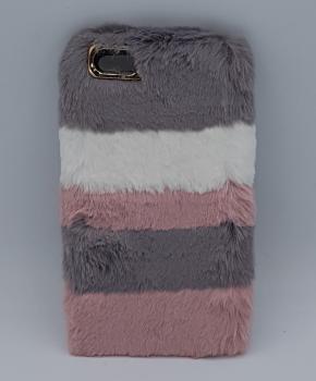 voor iPhone 6 Plus - pluizig hoesje - roze/grijs -