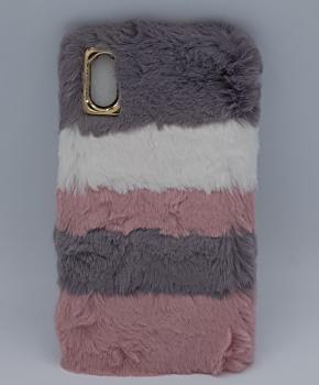 voor IPhone XS max - pluizig hoesje – 3 kleuren – roze/grijs