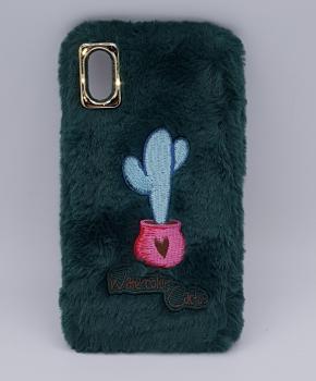 zacht pluizig – watercolor cactus – hoesje voor IPhone XS max