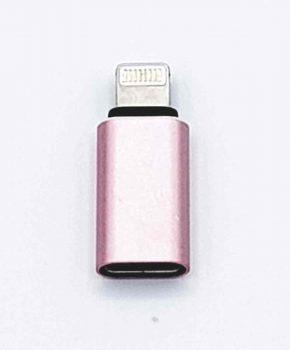 Type C female USB naar 8 Pins Lightning compatible male Adapter converter - Roze