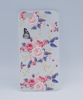 iPhone 6 Plus hoesje  - pink roses with butterfly