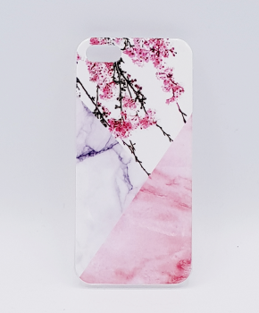 iPhone 7/ 8  hoesje - Triangle Marble flower pink