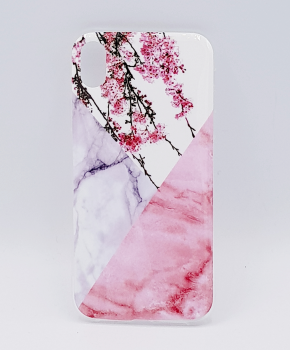iPhone XR - hoesje - Triangle Marble flower pink