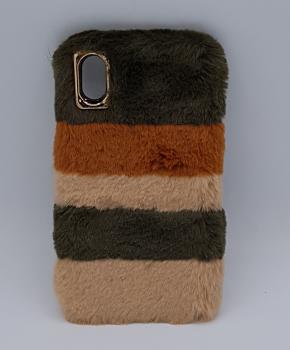 zacht pluizig -Gemengde Kleuren - bruin - hoesje  voor iPhone XS max