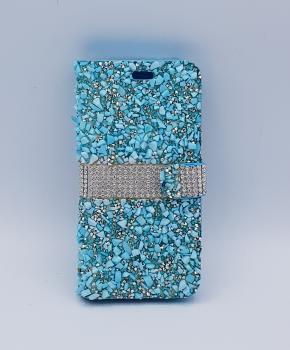 Voor Samsung S8 Plus bling - glitter boek case  - Blauw met zilver