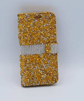 Voor Samsung S8 Plus bling - glitter boek case  - goud met zilver