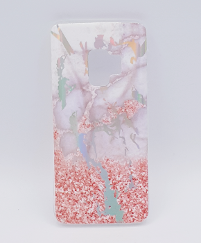 Voor Samsung Galaxy S9 - hoesje - Marble flower pink