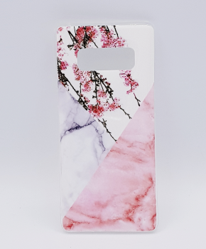 Voor Samsung Note 8 - hoesje - Triangle Marble flower pink