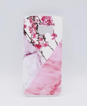 Voor Samsung S7 Edge - hoesje - Triangle Marble flower pink